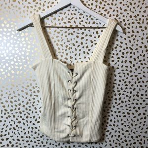 REFORMATION White lace up rubbed top SIZE M